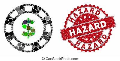 Collage Dollar Casino Chip with Textured Hazard Seal
