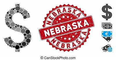 Collage Dollar Symbol Icon with Textured Nebraska Stamp