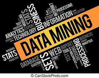 collage, données, exploitation minière, mot, nuage