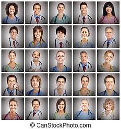 collage, dottore, Facce