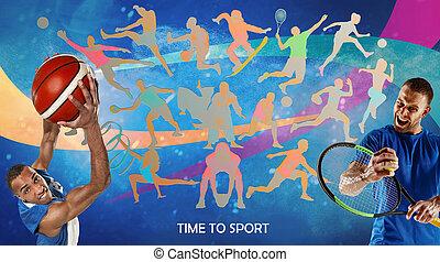 collage, drawned, sportler, silhouetten, kreativ