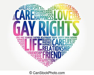 collage, droits gais, mot, nuage