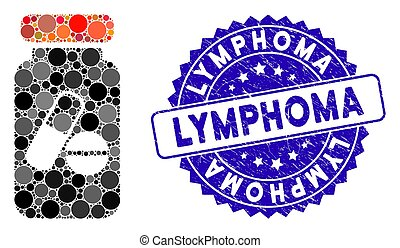 Collage Drugs Phial Icon with Scratched Lymphoma Stamp - ...