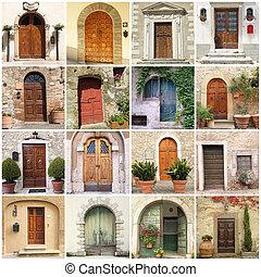 collage, drzwi, włoski
