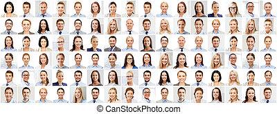 collage, dużo, portrety, handlowy zaludniają