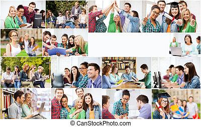 collage, dużo, studenci kolegium, obrazy