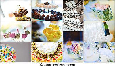 collage, dulces, boda