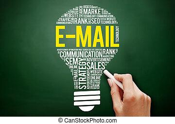 collage, e-mail, mot, nuage, ampoule