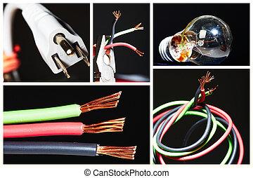 collage, eléctrico, instruments.