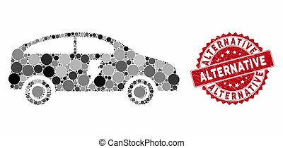 Collage Electric Car with Textured Alternative Seal