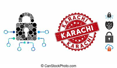 Collage Electronic Lock Icon with Textured Karachi Stamp