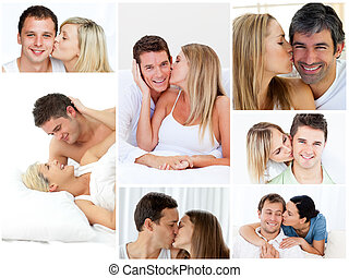 collage, embrasser, agréable, couples