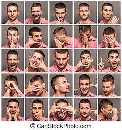 collage, emocional, hombre