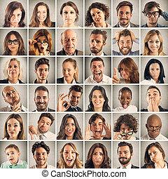collage, emotie, van, mensen