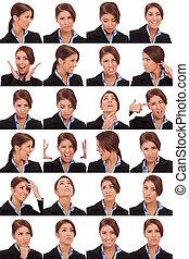 collage, emotioneel, businesswoman, gezichten