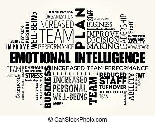 collage, emotivo, parola, nuvola, intelligenza