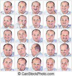 collage, emozioni, grasso, ritratto, differenza, uomo