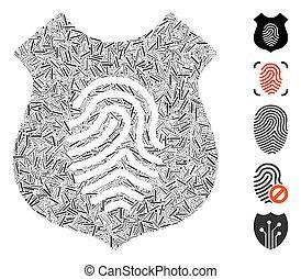 collage, empreinte doigt, ligne, icône, bouclier