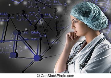 collage, en, científico, topics., joven, doctora, posición, contra, fondo gris