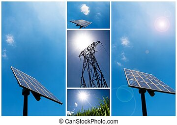 collage, energía, solar