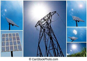 collage, energia, solare