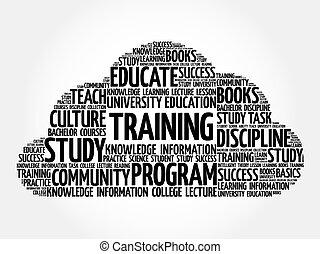 collage, entrenamiento, palabra, nube