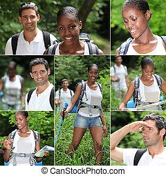 collage, escursionismo donna, uomo