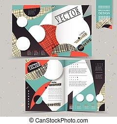 collage, estilo, half-fold, plantilla, diseño