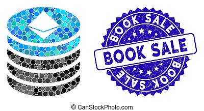 Collage Ethereum Coin Stack Icon with Grunge Book Sale Seal