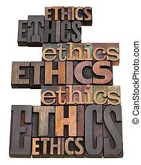 collage, ethiek, woord