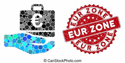 Collage Euro Accounting Hand with Distress EUR Zone Seal