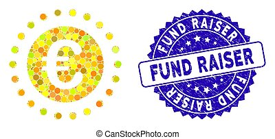 Mosaic Euro gold coin icon and rubber stamp seal with Fund Raiser phrase. Mosaic vector is composed from Euro gold coin icon and with random circle elements. Fund Raiser stamp uses blue color,