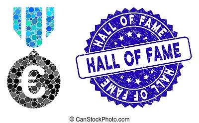 Collage Euro Honor Medal Icon with Textured Hall of Fame Seal