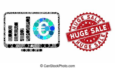Collage Euro Market Monitoring with Textured Huge Sale Seal