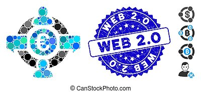 Collage Euro Social Network Icon with Textured Web 2.0 Stamp