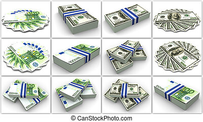 collage, euro, soldi., dollar.