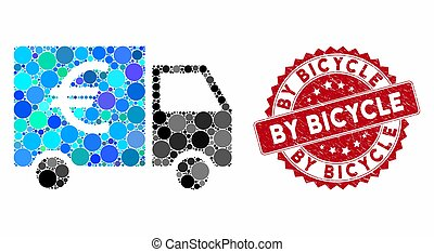 Collage Euro Truck with Textured By Bicycle Stamp