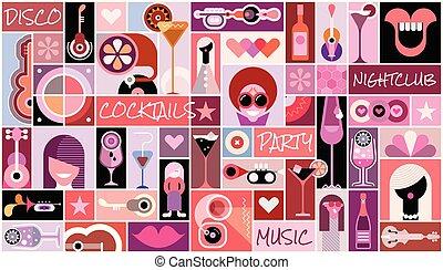 collage, fête, art, pop, disco
