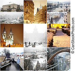 Collage fabulous winter Prague
