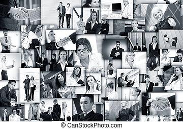 collage, fait, de, business, images