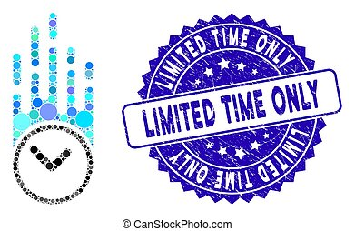 Collage Falling Clock Icon with Scratched Limited Time Only Stamp