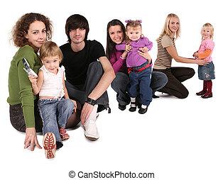 collage, familles, heureux