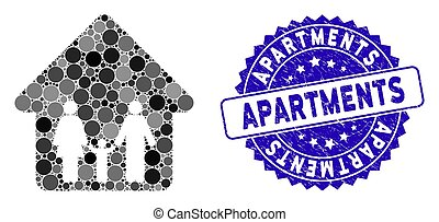 Collage Family Home Icon with Grunge Apartments Stamp