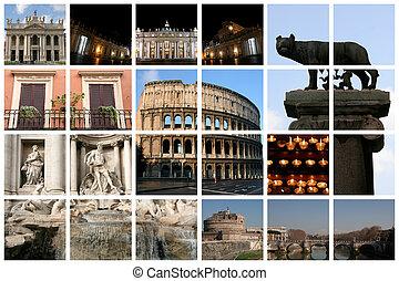 collage, fantastyczny, rzym