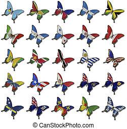 collage, farfalle, bandiere, americano