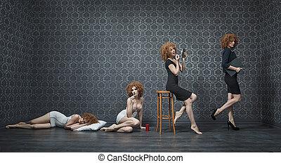 collage, femme affaires, jeune, matin, photo, typique