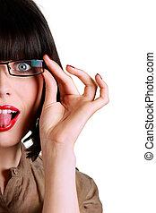 collage, femme, elle, langue, lunettes, dehors