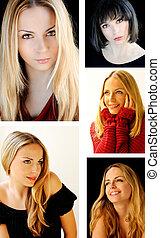 collage, femme, joli