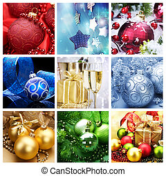 collage, feriado, navidad