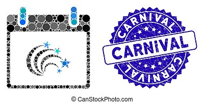 Collage Festive Fireworks Calendar Day Icon with Grunge Carnival Seal